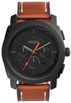 Fossil Machine Chronograph Leather Strap Watch, 45Mm