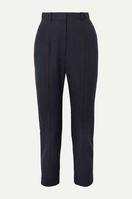 Alexander McQueen Cropped Grain De Poudre Wool Slim-leg Pants - Navy