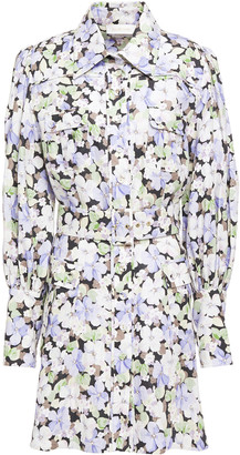 Zimmermann Belted Floral-print Linen Mini Shirt Dress