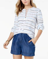 Tommy Hilfiger Printed Lace-Up Shirt, Created for Macy's
