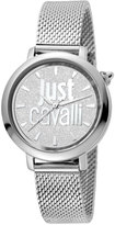 Just Cavalli 34mm Logo Stainless Steel Bracelet Watch, Silver