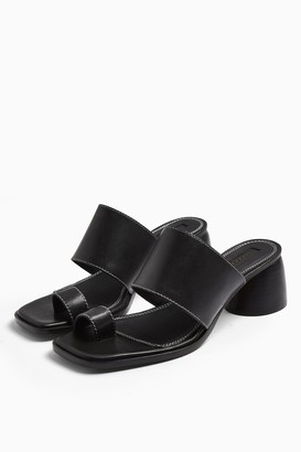 Topshop VILLAGE Black Leather Toe Loop Sandals