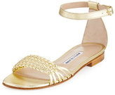 Manolo Blahnik Chaflabra Woven Leather Sandal, Gold Platino