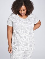 Lane Bryant LIVI French Terry Top With Lace-Up - Tie-Dye