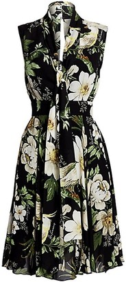 Carolina Herrera Sleeveless Floral Overlay Dress