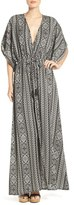 Women's Elan Print Woven Cover-Up Caftan Maxi Dress