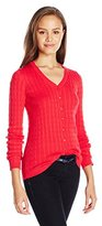 U.S. Polo Assn. Juniors' Solid Cable Knit V-Neck Cardigan Sweater