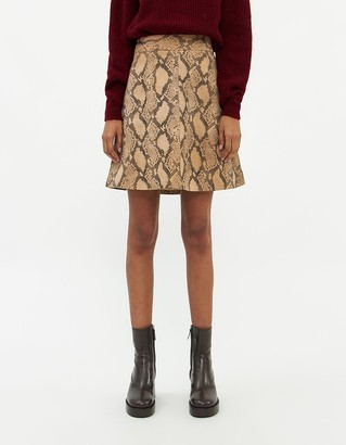 Just Female Women's Noemi Leather Skirt in Snake, Size Extra Small
