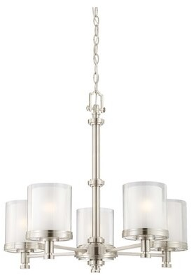 clear Tussey 5 - Light Shaded Classic / Traditional Chandelier Charlton Home Finish / Glass Finish: Brushed Nickel Outer with Frosted Inner