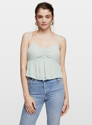 Miss Selfridge Green Sage Ruched Camisole
