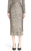 Max Mara Women's Pleated Hem Jacquard Pencil Skirt