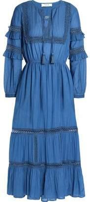 Sea Crochet-trimmed Embellished Cotton-blend Mousseline Midi Dress