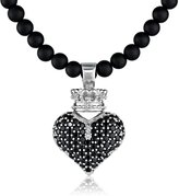 "King Baby Studio 3D Pave Crowned Heart Pendant Necklace On 18"" Onyx Bead Necklace"