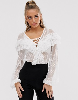 ASOS DESIGN lace up ruffle bodysuit in dobby mesh