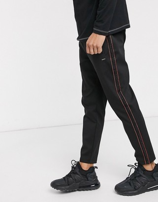 HUGO Davel side taped joggers in black