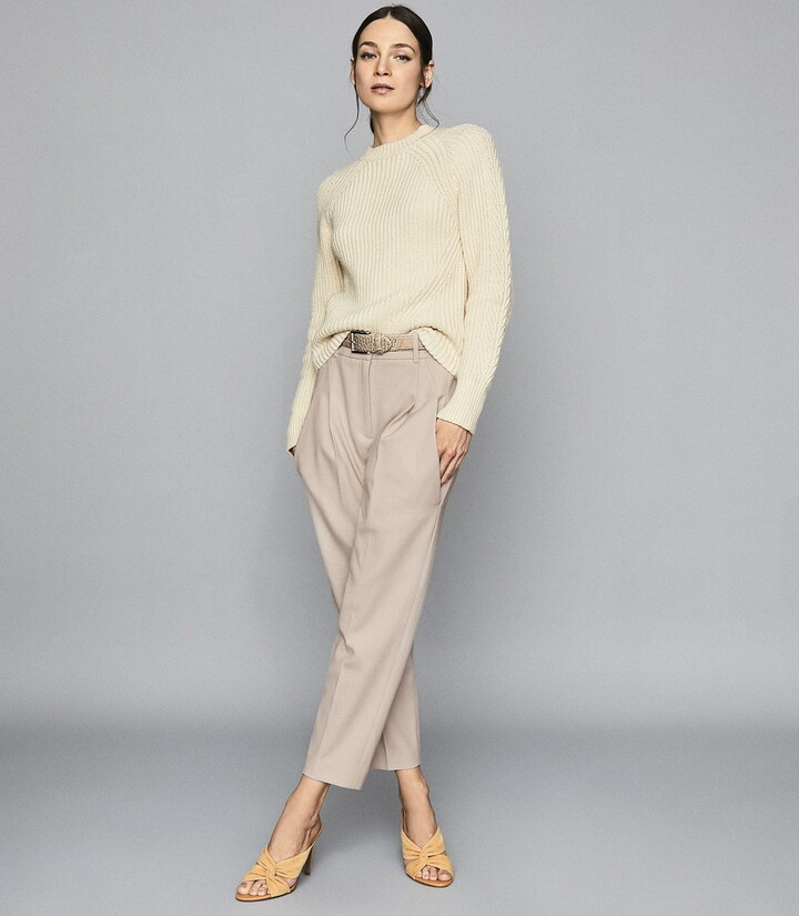 Reiss Aisling - Cotton Blend Chunky Knit Jumper in Cream