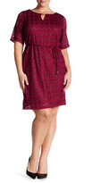 Sandra Darren Metallic Lace Knit Shift Dress (Plus Size)