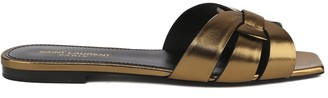 Saint Laurent Tribute Laminated Leather Flat Sandals