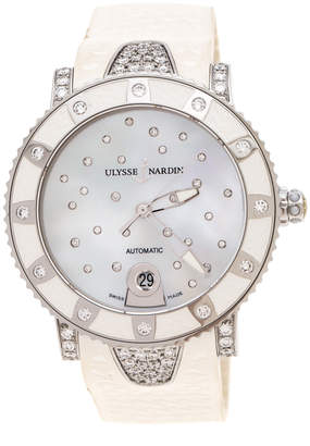 Ulysse Nardin White Mother of Pearl Stainless Steel Diamond Lady Driver 8103-101 Women's Wristwatch 40 mm