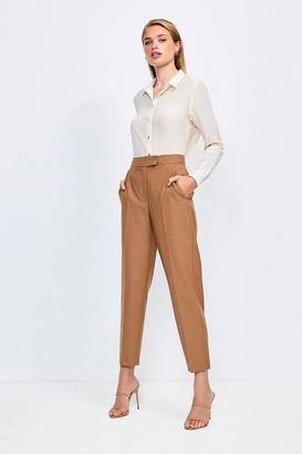 Karen Millen Polished Stretch Wool Blend Tapered Trouser