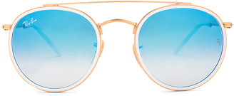 Ray-Ban Round Double Bridge Sunglasses in Gold & Blue | FWRD