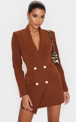UNIQUE21 Chocolate Gold Button Blazer Dress