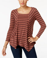 Style&Co. Style & Co. Petite Striped Handkerchief-Hem Top, Only at Macy's