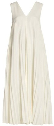 LVIR Pleats Double V-Neck Dress