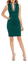 Eliza J Beaded Mandarin Collar Dress