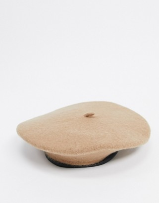 ASOS DESIGN wool beret with bound edge in camel