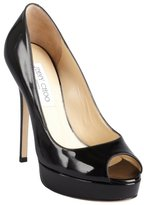 Jimmy Choo black patent leather 'Crown' peep toe pumps