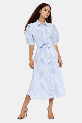 Glamorous Womens **Blue And White Gingham Midi Shirt Dress By Blue