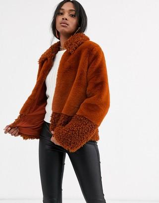 Y.A.S faux fur & teddy mix short coat