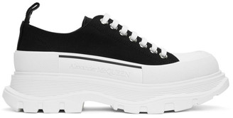 Alexander McQueen Black and White Tread Slick Lace-Up Sneakers
