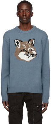 MAISON KITSUNÉ Blue Wool Jacquard Fox Head Sweater