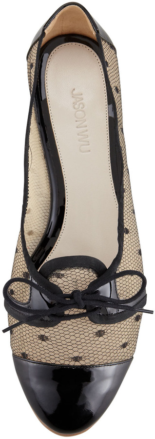 Jason Wu Cap Toe Lace Mesh Oxford, Nude/Black