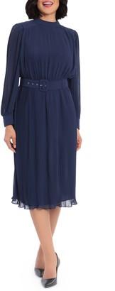 Maggy London Pleated Chiffon Long Sleeve Midi Dress