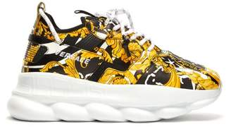 Versace Chain Reaction Baroque Print Sneakers - Mens - Black Yellow