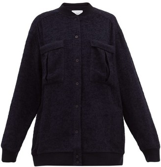 Raey Oversized Rib-trim Textured Shacket - Navy