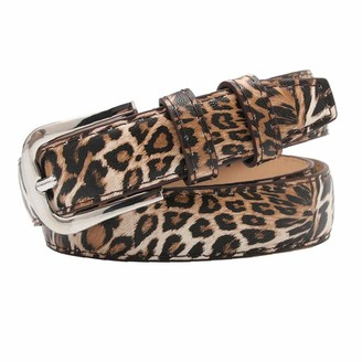 Amoyer Pu Leather Belt Fashion Waist Belt for Pants Jeans Waistband with Alloy Buckle Leopard Print Belts for Women