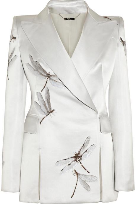 Alexander McQueen Silk-blend satin dragonfly-jacquard jacket