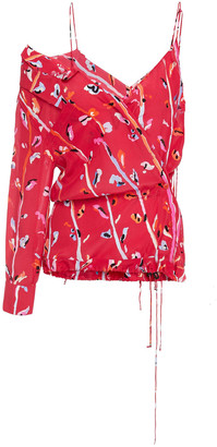 Altuzarra Off-the-shoulder Printed Silk Crepe De Chine Top