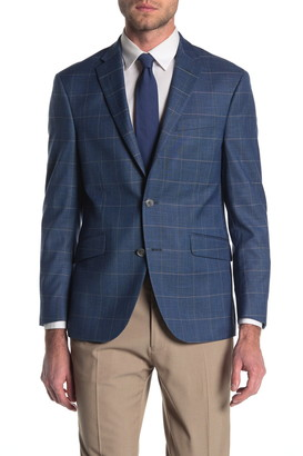 Kenneth Cole Reaction Windowpane Two Button Notch Lapel Modern Fit Jacket
