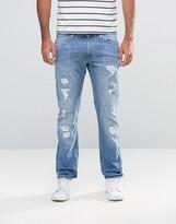 Lee Jeans Luke Skinny Fit Stretch Blue Trash Distress Repair Light Wash