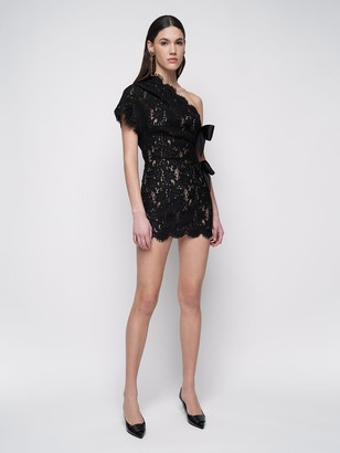 Saint Laurent Sheer Lace One-Shoulder Mini Dress
