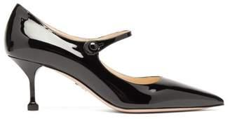 Prada Point Toe Patent Leather Mary Jane Pumps - Womens - Black