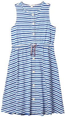 crewcuts by J.Crew Ruby Button Dress (Toddler/Little Kids/Big Kids) (Ivory/Blue) Girl's Clothing