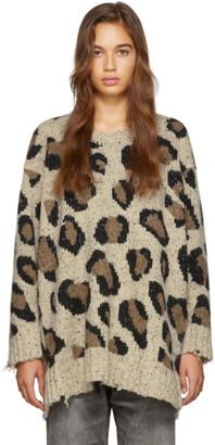 R 13 Beige Leopard Slouch Sweater