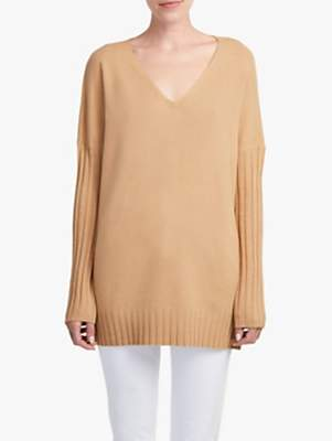French Connection V-Neck Jumper, Camel Melange