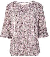 Fat Face Phoebe Floral Print Popver Blouse, Pink/Multi